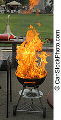 Grill and large flame - Barbecue grill and large flame...