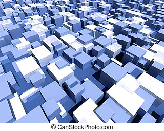 cubic urban field - Infinite random blue and white boxes -...