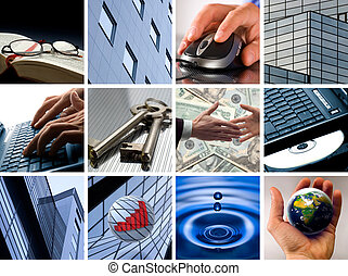 business - Conceptual image grid of business photos - from...