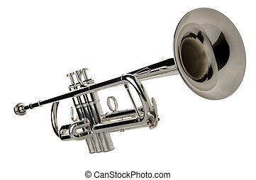 trumpet - silver trumpet isolated on white close up