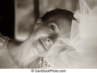 Beautiful bride - The beautiful bride in a veil gently...