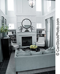 Interior Design - clean classic living room design with fire...