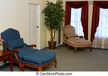 Sitting Room - old fashioned sitting room with tree and door
