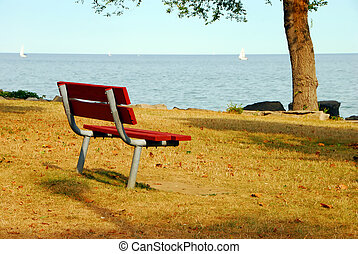 Bench with a view of the lake
