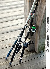 fishing rods - photographed fishing rods at pier in Georgia...