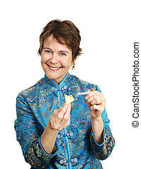 Fortune Cookie - Happy - A pretty woman in a chinese blouse...