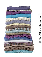 womens clothing - stack of folded womens tops, with clipping...