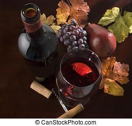 wine still life, autumn - wine bottle and...