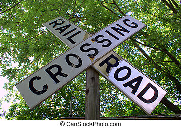 Railroad Crossing Sign - A rural railroad crossing sign in...