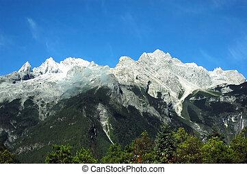 snow mountain - Landscape of a snow mountain in Yun Nan...