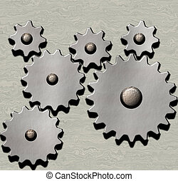 clockwork - image of metal clockwork gears on metallic...