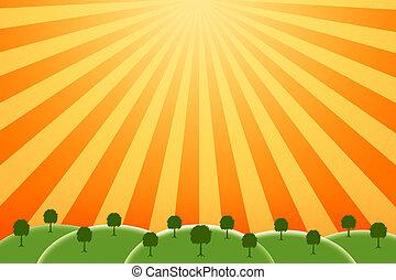 sunny farm - bright and cheery image of a farm on a sunny...