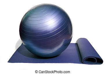 yoga mat and ball - yoga mat and pilates ball isolated on...