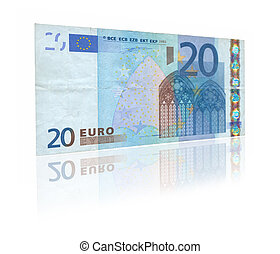 20 Euro with reflection - close-up of 20 Euro banknote with...