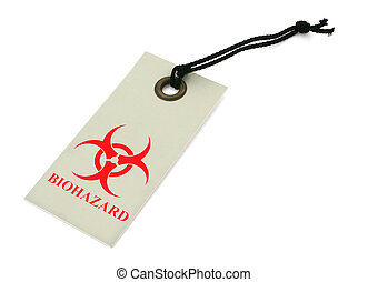 biohazard symbol - red biohazard symbol on a price tag...