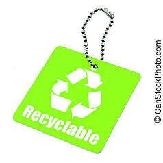 green tag with recyclable symbol