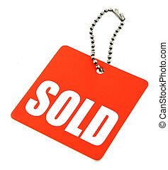 sold tag - Tag with SOLD inscription isolated on pure white...