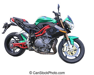 Green Benelli Motorbike - A green Benelli motorbike isolated...
