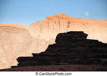 moonrise over desert - Wadi Rum, Jordan