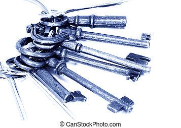 Keys - Photo of Various Skeleton Keys in a Blue Tone