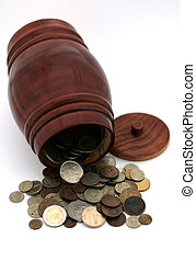 barrel and coins-3 - some coins of different countries in...
