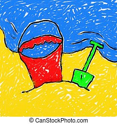 childs beach drawing