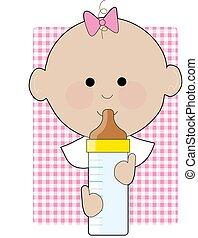 Baby Girl Bottle - Baby girl holding his bottle on a gingham...