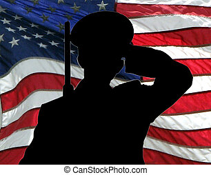 Salute - The silhouette of a soldier saluting, with the...