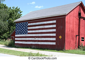 Red, White and Blue Barn - Barn with the American Flag...