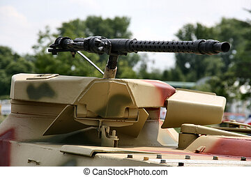 Armored vehicle detail - Heavy machine gun on an armored...