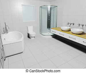 Contemporary bathroom - 3D render of a contemporary bathroom