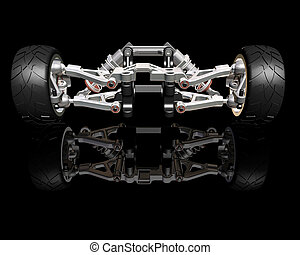 Suspension - 3D render of wheels with suspension
