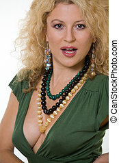 Low cut top - Attractive woman with curly blond hair in a...