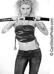Sexy woman with sword
