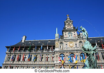 Antwerp - Town Hall and the Brabo Fountain in Antwerp,...
