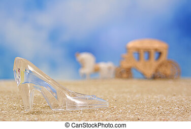 Glass Slipper on Beach With Carriage in Background, Shallow...
