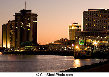 New Orleans waterfront - Hotels and casinos on Mississippi...