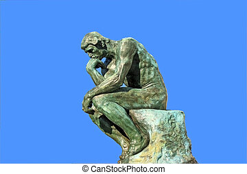 "Thinker isolated over blu - A copy of \""Thinker\\\"" by..."
