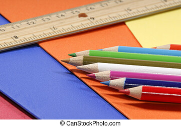 School Supplies - Photo of Various School Related Items -...