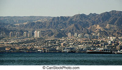 City of Elat, Israel - seen across Red Sea from Aqaba,...