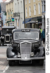 Vintage Police Car - Vintage black and chrome British police...