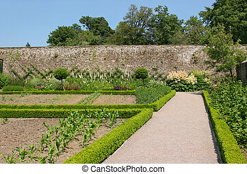 Ancient Walled Garden - Pathway through a walled garden,...