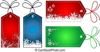 Natale, regalo, etichette