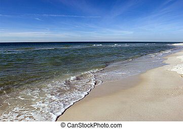 Mexican Gulf coast - Remote barren white sand beach of...