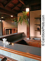 Balinese furniture - Wooden countertop and shelves in...