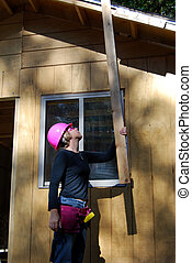 Female Construction Worke - female construction worker with...