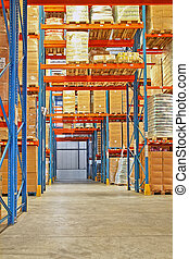 Shelf in storehouse - Big warehouse storage room with boxes...