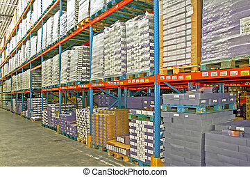 Storage boxes - Big warehouse storage room with boxes and...
