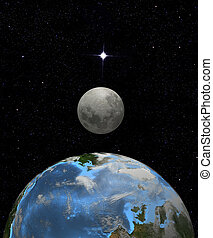 Moon rise in earth space - Illustration: The moon rises over...