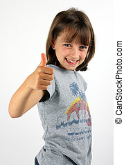 Smiling girl giving thumbs up
